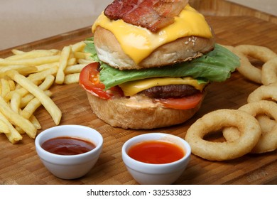 beef burger with grilled bacon  - American food - fast food
