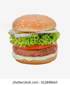 beef burger with salads tomatoes and onions