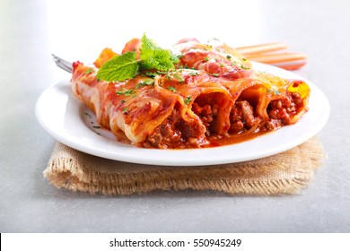 Beef cannelloni with tomato sauce and cheese on plate,