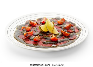 Beef Carpaccio with Tomatoes, Lime and Sauce
