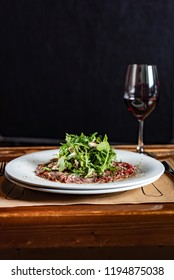 beef carpaccio and wine