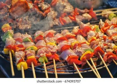 beef and chicken barbecue at Bangkok,Thailand