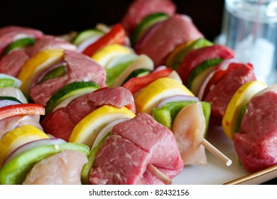 Beef and chicken Shish Kabobs ready for the grill