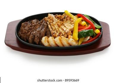 beef chicken and shrimp fajitas