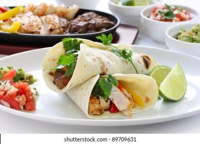 beef chicken and shrimp fajitas, mexican cuisine, tex-mex cuisine