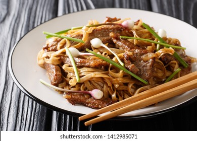 Beef chow funis a staple Cantonese dish, made from stir-frying beef, hor fun (wide rice noodles) and bean sprouts closeup on the plate on the wooden table. horizontal