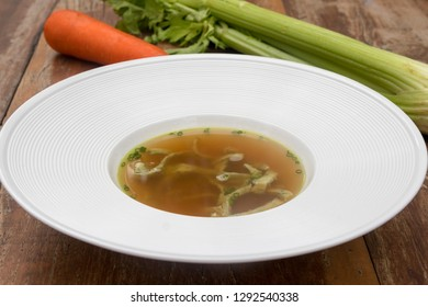 Beef consomme with pancake julienne