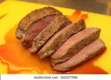 beef fillet strips sous-vide