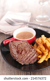 beef, french fries and sauce