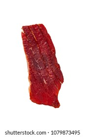 Beef Jerky Isolated on White Background. Selective focus.