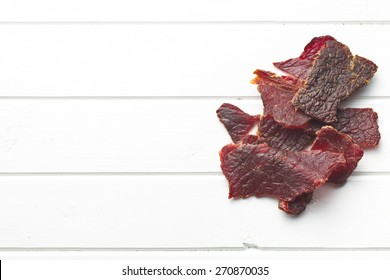 beef jerky on kitchen table