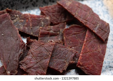 Beef jerky on the plate