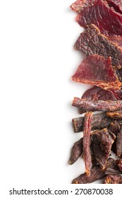 beef jerky on white background