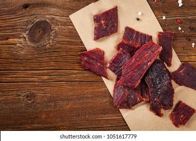 Beef Jerky. Selective focus.