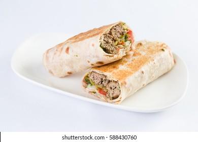 Beef Kafta Kabab Pita Sandwich in Mediterranean Levantine Cuisine