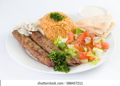 Beef Kafta Kabab with Rice and Salad