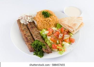 Beef Kafta Kabab with Rice and Salad