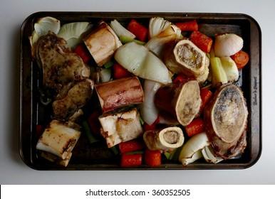 Beef marrow bones freshly roasted for making beef bone broth
