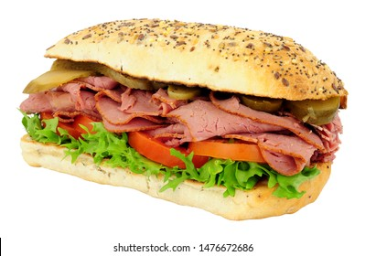 Beef pastrami and salad sandwich isolated on a white background