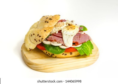 Beef Pastrami Sandwich With Mushrooms and quail eggs / Fresh Sandwich with spinach, pastrami and quail eggs