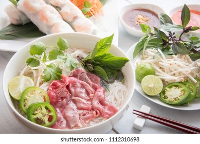 beef pho with summer roll