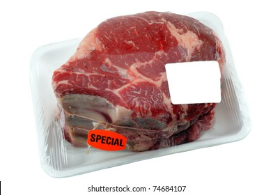 Beef Prime Rib Roast In Supermarket packaging With Blank Label For Your Design