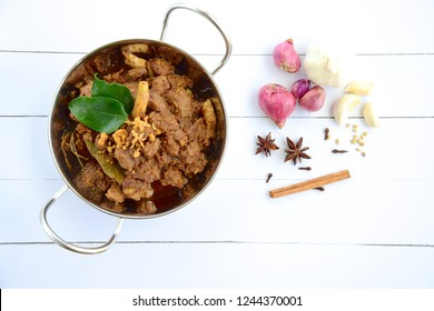 Beef Rendang. Spicy beef stew from Indonesia. Flat lay