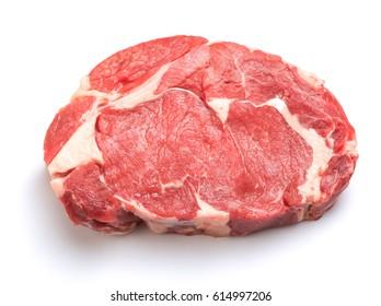 Beef rib eye steak isolated on white