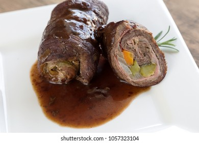 Beef roulade with sauce