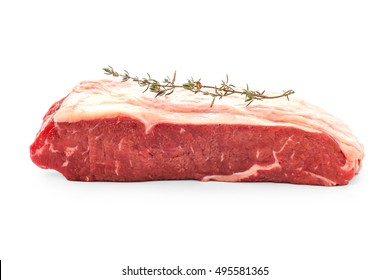 Beef rumpsteak with thyme branch, isolated