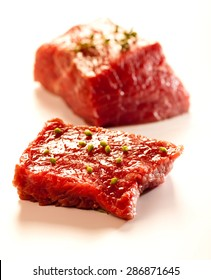 Beef - serving raw meat for dinner.