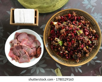 Beef with Sichuan peppers with cured beef cooked from a local farm in the Sichuan province.