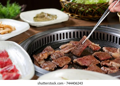 beef Sirloin steak on plate or grill