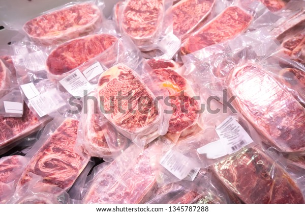 Beef slides in vacuum packages for sale in supermarkets