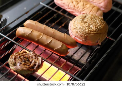beef and sosis on burger food