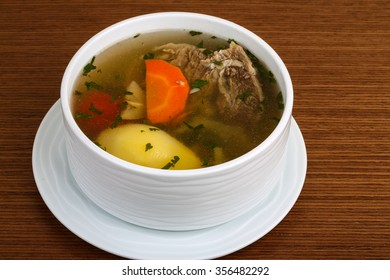 Beef soup with vegetables - potato, carrot and pepper