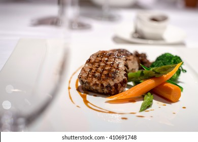 Beef steak in fine dining restaurant
