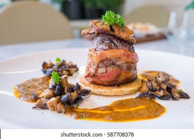 Beef steak and foie gras