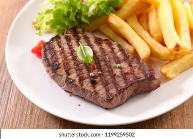 beef steak and french fries