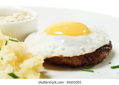 Beef Steak with Fried Egg and Mashed Potato