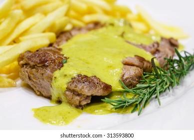Beef steak mustard sauce