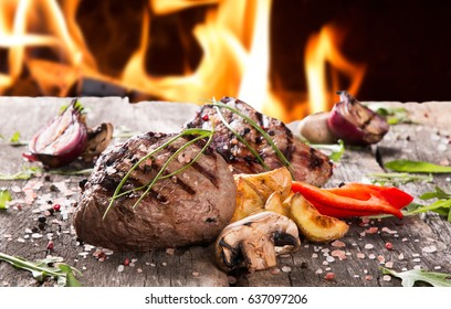 Beef steak on wooden table, Fresh grilled steak with vegetable