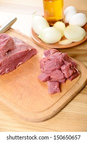 beef steak. Pieces of raw meat on a kitchen table