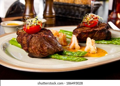Beef steak and shrimp with grilled vegetables