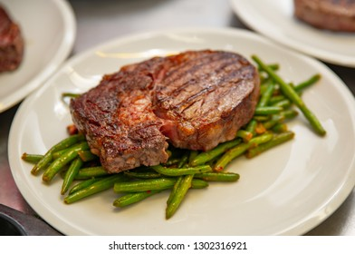 Beef steak sirloin with grilled beans vegetables