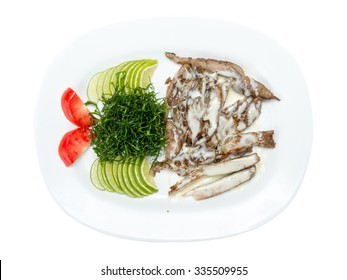 Beef Steak topping with white sauce on white plate.