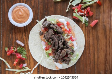 Beef steak tortilla wrap taco