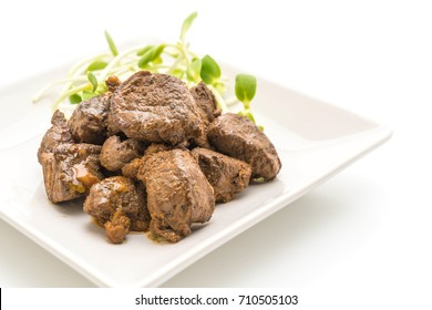beef steak with vegetable isolated on white background