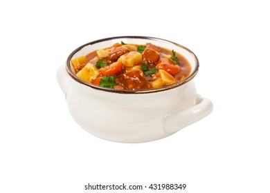 Beef Stew Isolated on white. Selective focus.