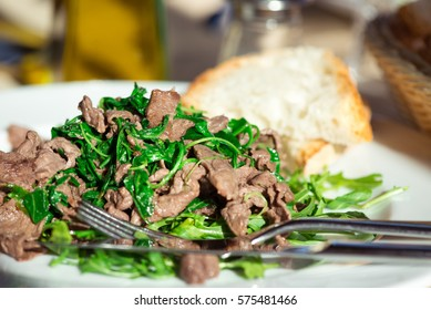 Beef strips with rocket (roman straccetti)